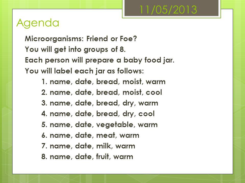 11/05/2013 Agenda