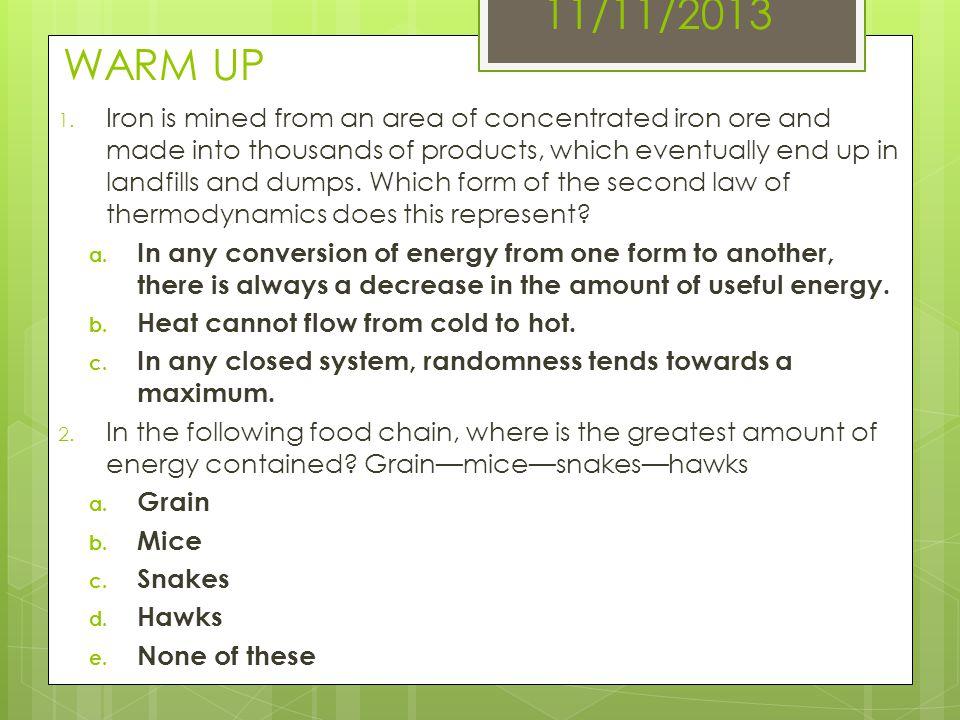 11/11/2013 WARM UP