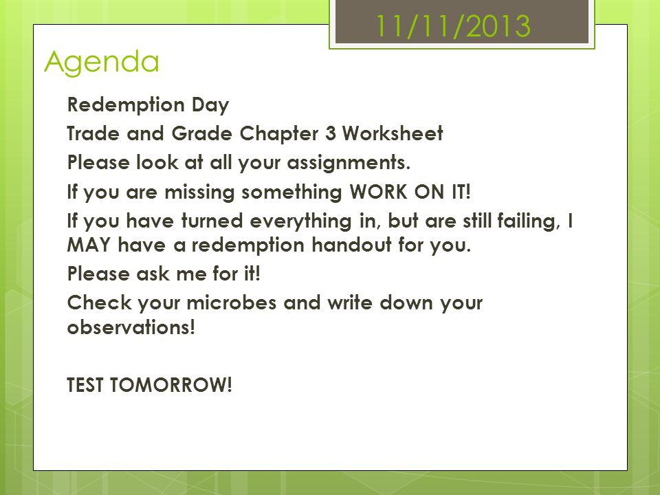 11/11/2013 Agenda