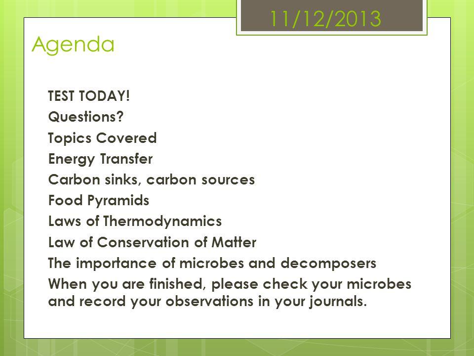 11/12/2013 Agenda