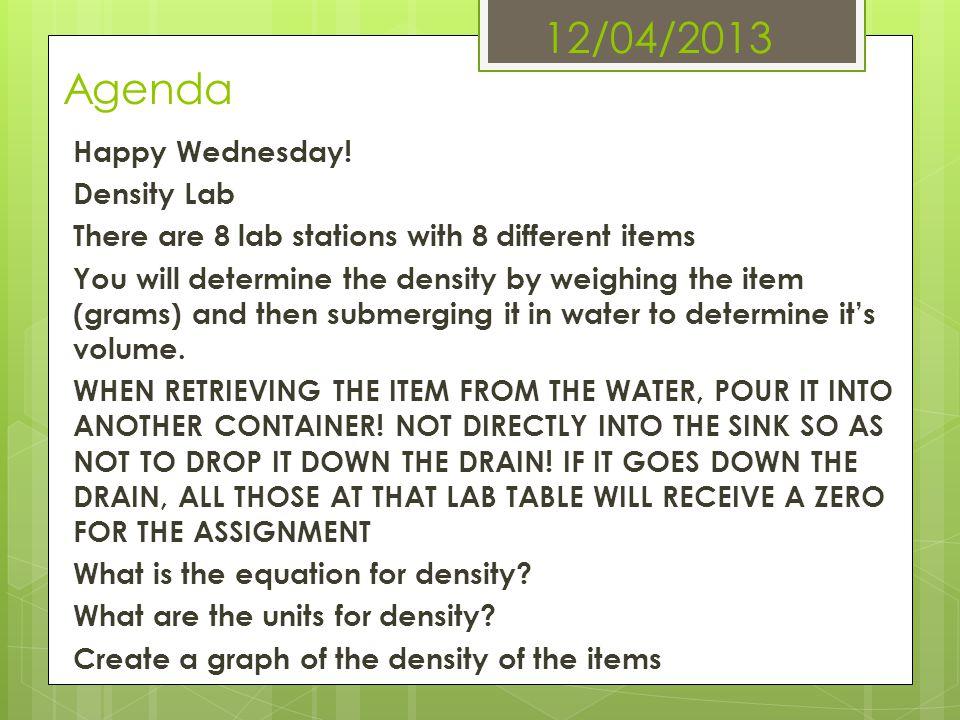 12/04/2013 Agenda