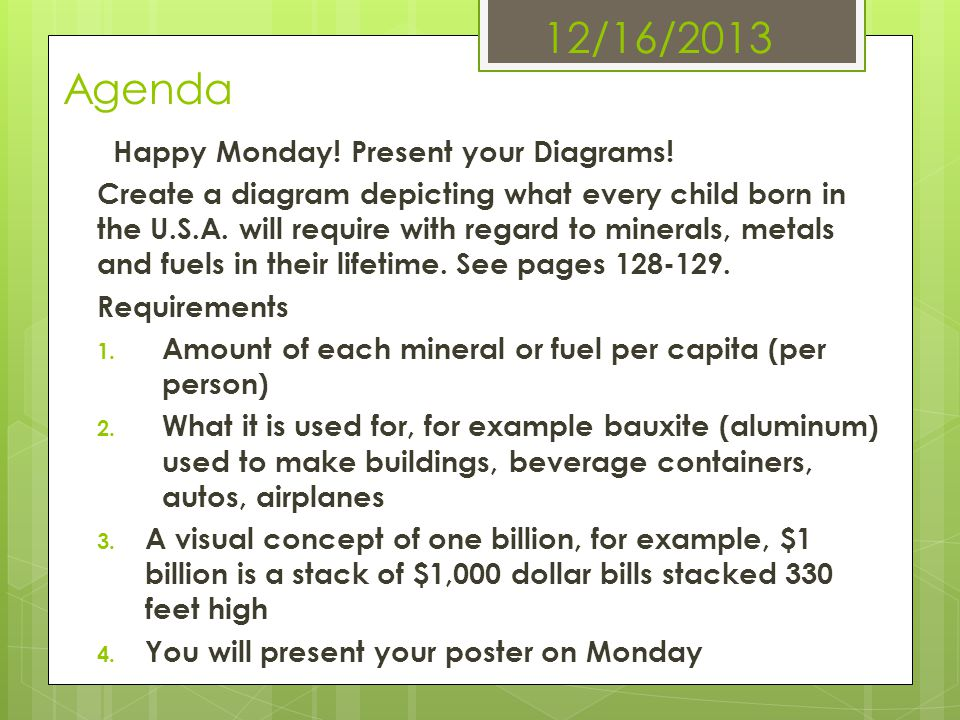 12/16/2013 Agenda Happy Monday! Present your Diagrams!