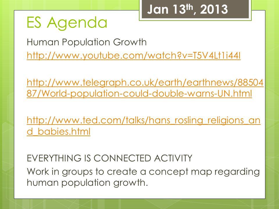 ES Agenda Jan 13th, 2013 Human Population Growth