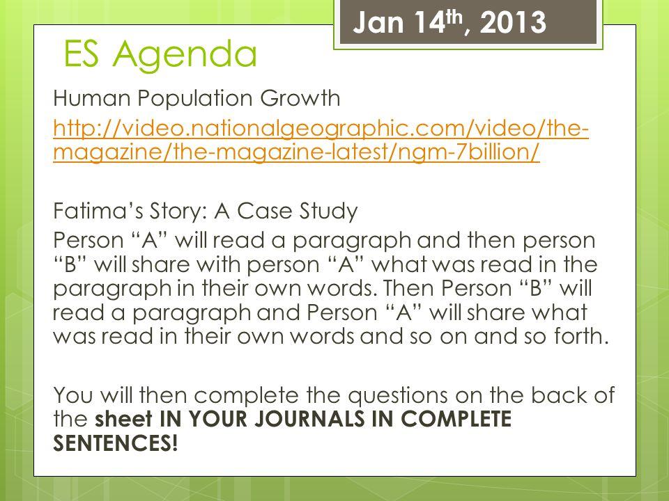 Jan 14th, 2013 ES Agenda.