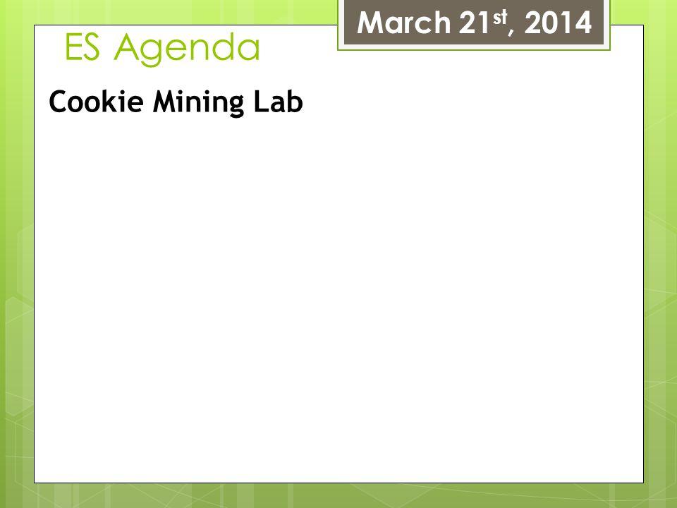 March 21st, 2014 ES Agenda Cookie Mining Lab