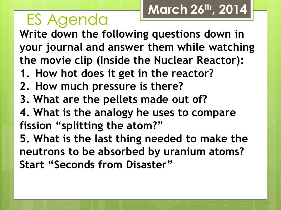March 26th, 2014 ES Agenda.