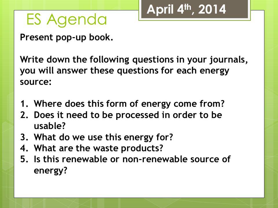 ES Agenda April 4th, 2014 Present pop-up book.