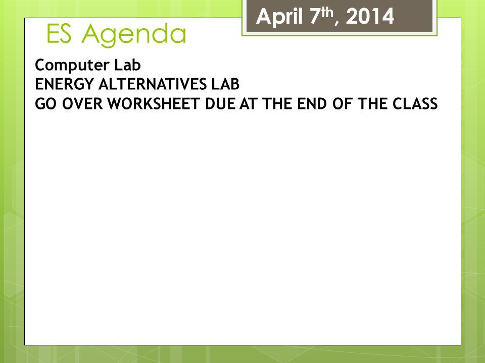 ES Agenda April 7th, 2014 Computer Lab ENERGY ALTERNATIVES LAB
