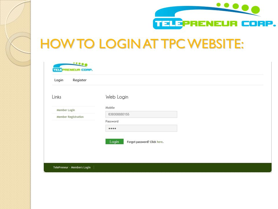 HOW TO LOGIN AT TPC WEBSITE: