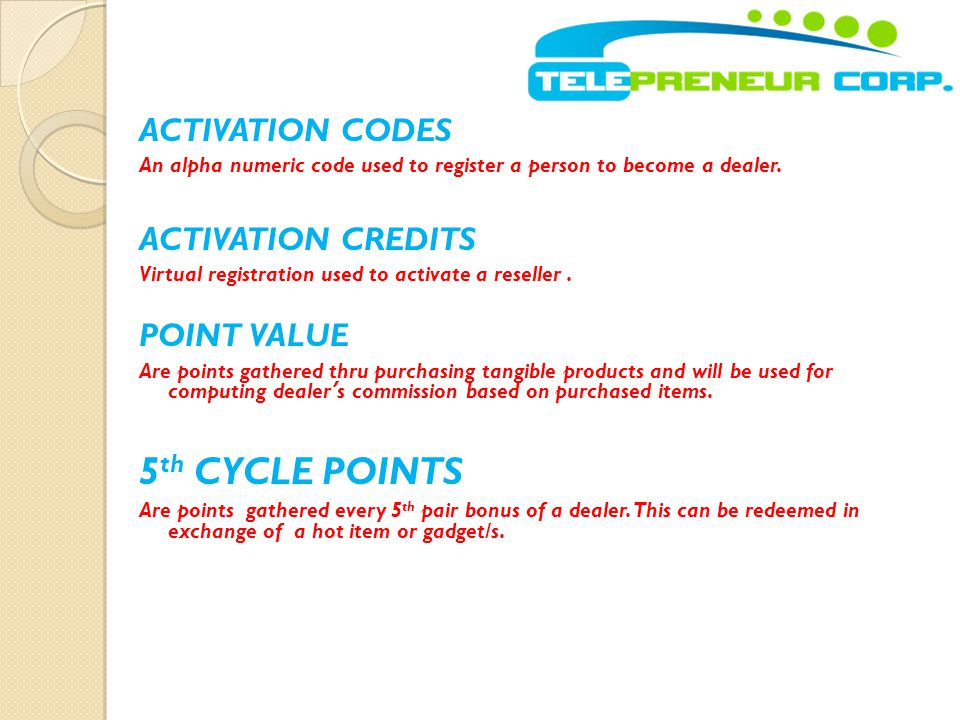 5th CYCLE POINTS ACTIVATION CODES ACTIVATION CREDITS POINT VALUE