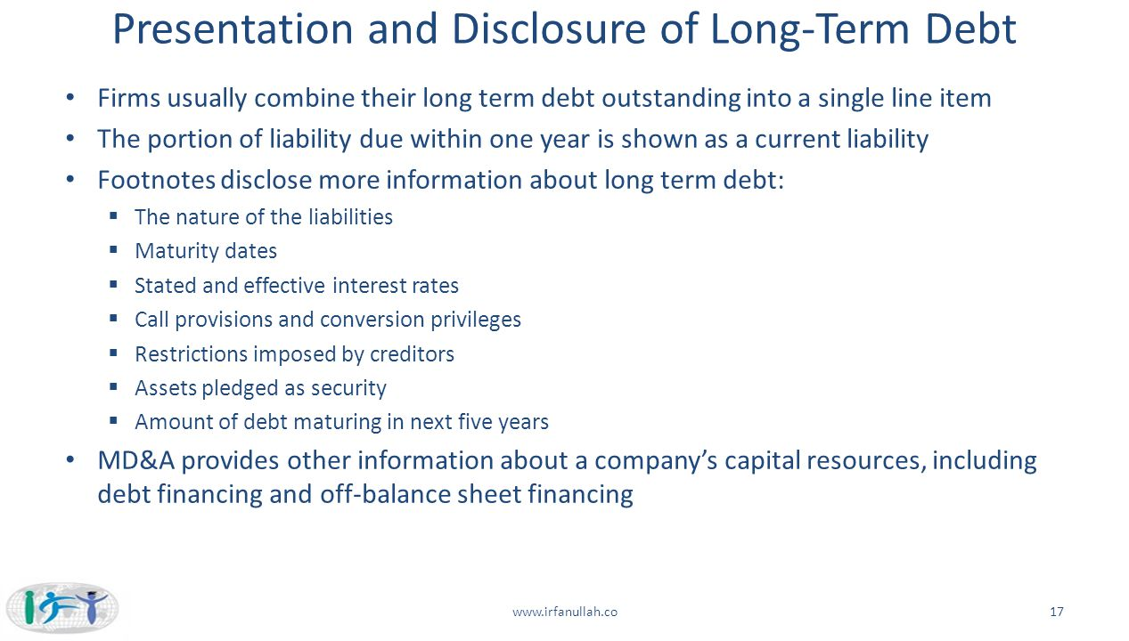 Presentation and Disclosure of Long-Term Debt