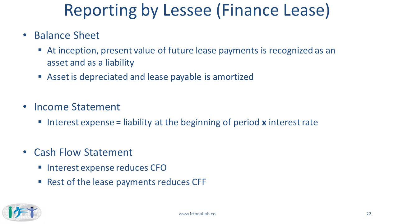 Reporting by Lessee (Finance Lease)