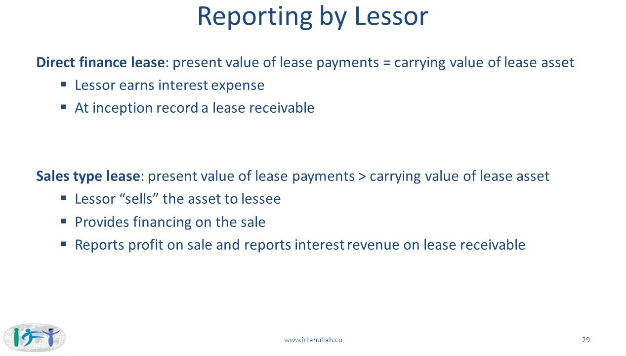 Reporting by Lessor Direct finance lease: present value of lease payments = carrying value of lease asset.