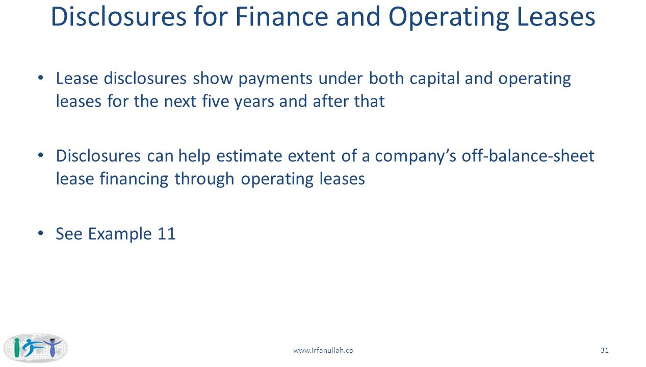 Disclosures for Finance and Operating Leases
