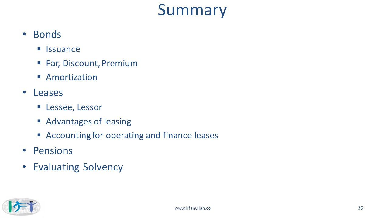 Summary Bonds Leases Pensions Evaluating Solvency Issuance