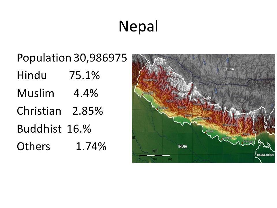 Nepal Population 30,986975 Hindu 75.1% Muslim 4.4% Christian 2.85%