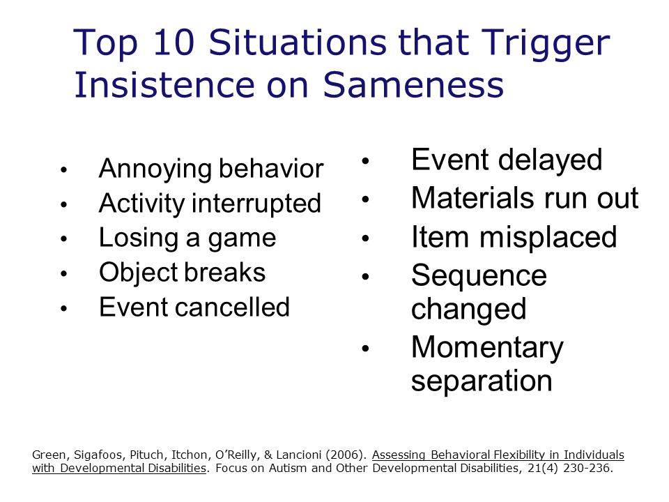 Top 10 Situations that Trigger Insistence on Sameness