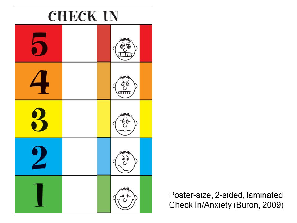 Poster-size, 2-sided, laminated Check In/Anxiety (Buron, 2009)