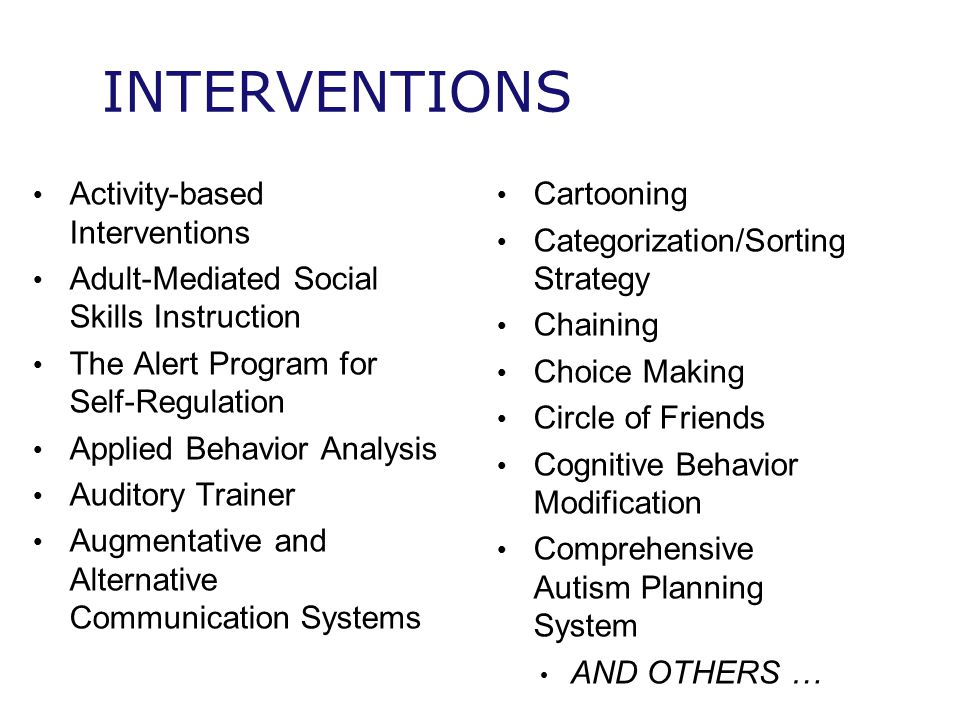 INTERVENTIONS Activity-based Interventions