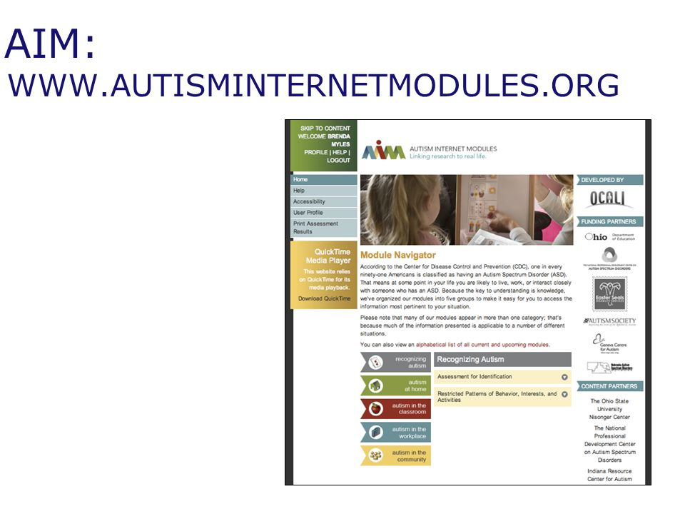 AIM: WWW.AUTISMINTERNETMODULES.ORG