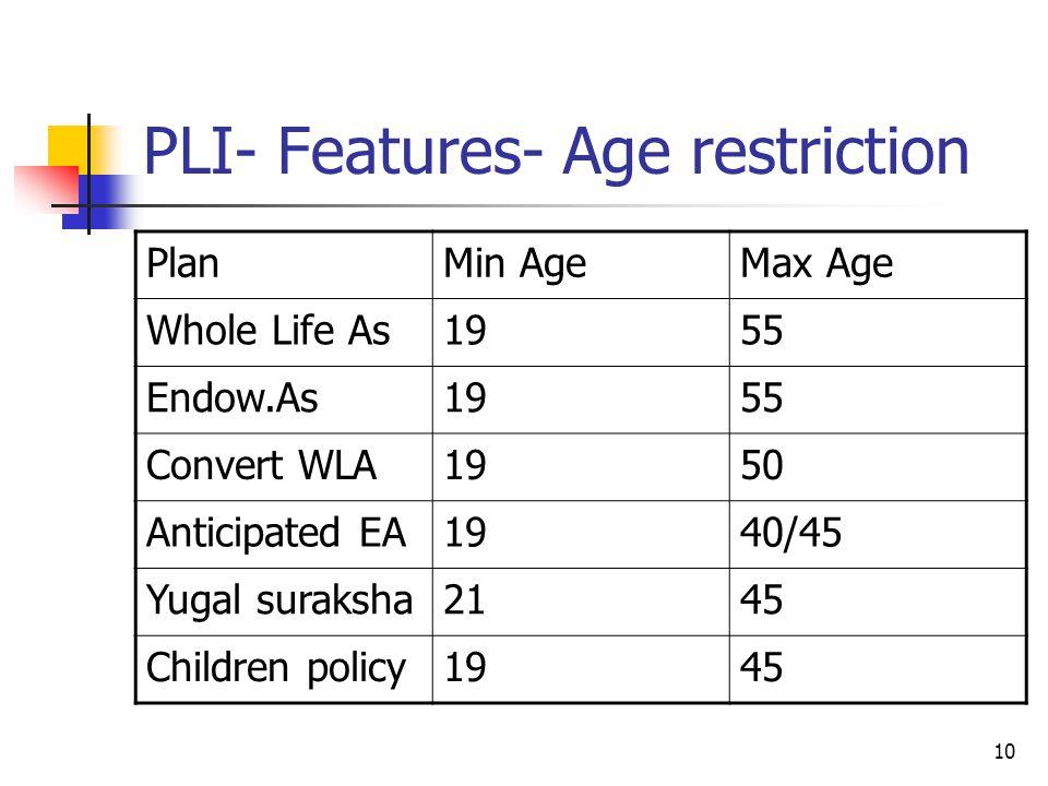 PLI- Features- Age restriction