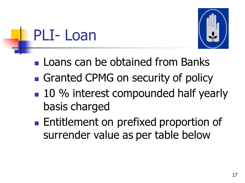 PLI- Loan Loans can be obtained from Banks
