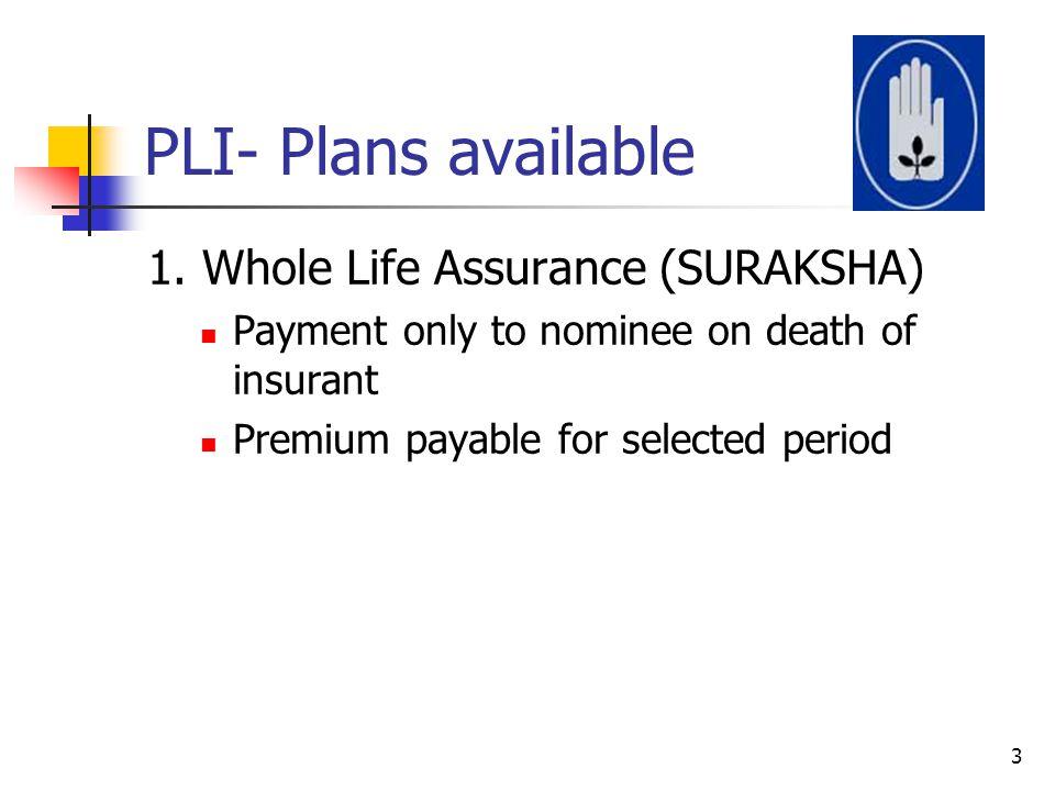 PLI- Plans available 1. Whole Life Assurance (SURAKSHA)