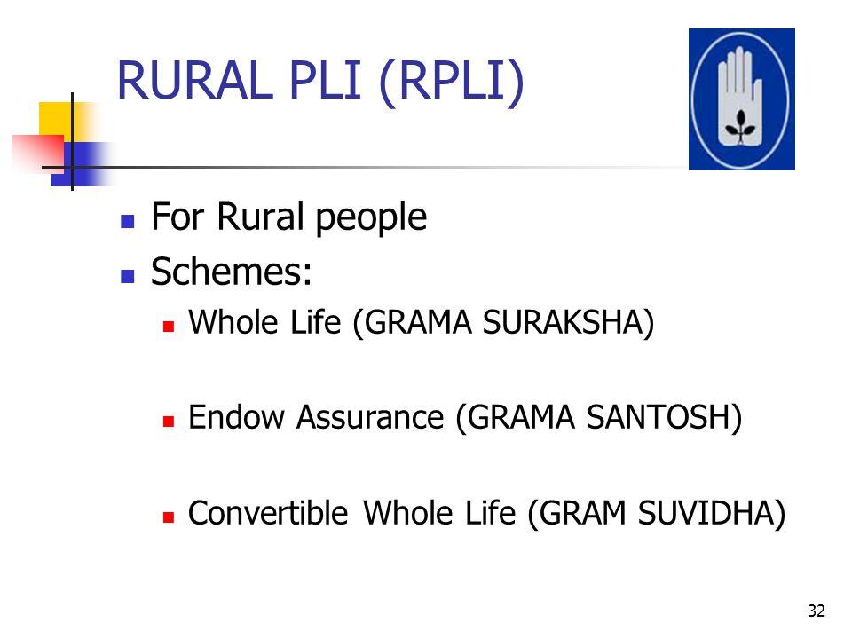 RURAL PLI (RPLI) For Rural people Schemes: Whole Life (GRAMA SURAKSHA)