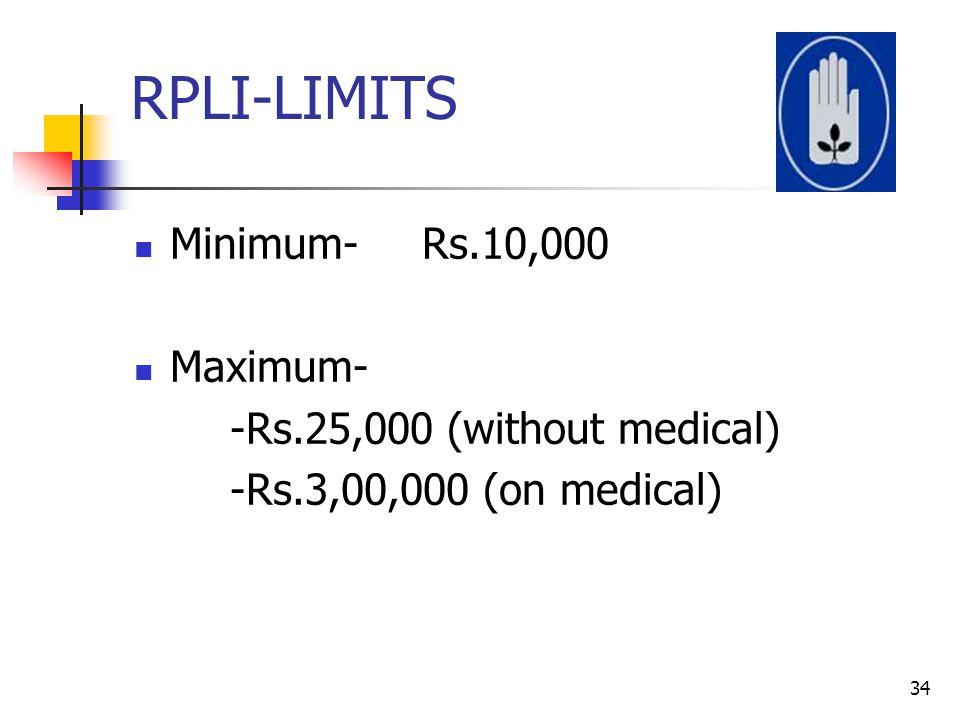 RPLI-LIMITS Minimum- Rs.10,000 Maximum- -Rs.25,000 (without medical)
