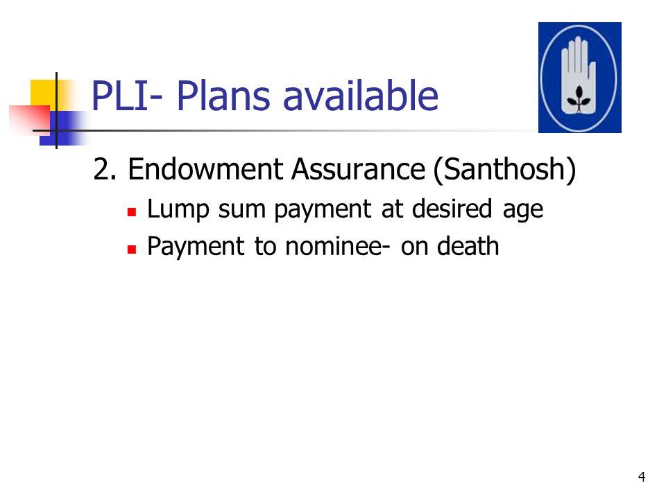 PLI- Plans available 2. Endowment Assurance (Santhosh)