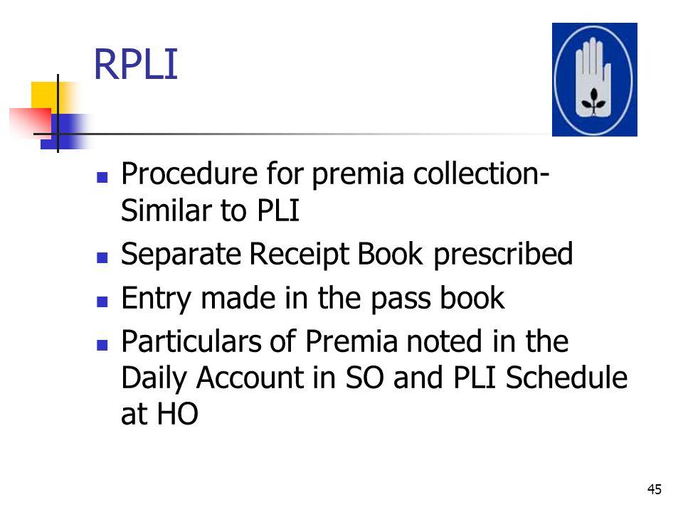 RPLI Procedure for premia collection- Similar to PLI
