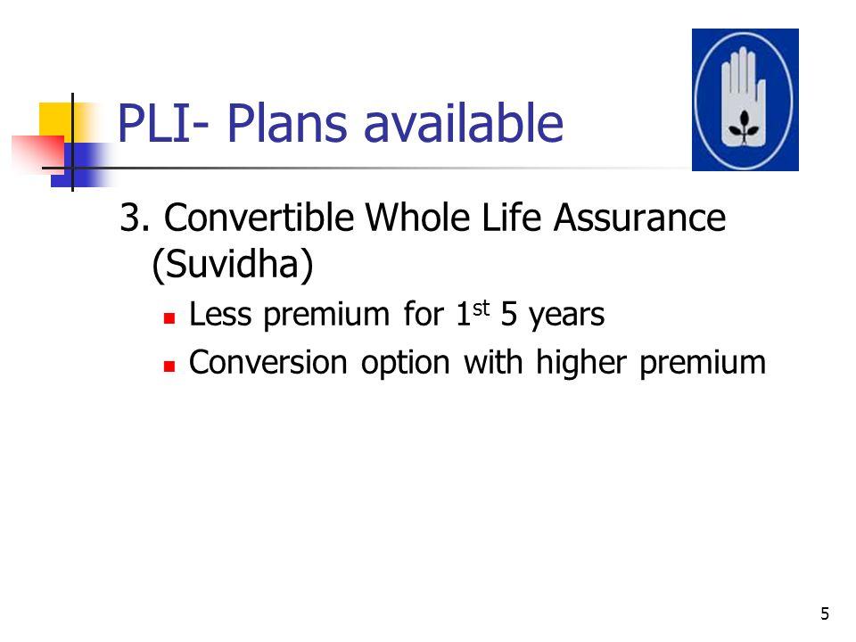 PLI- Plans available 3. Convertible Whole Life Assurance (Suvidha)