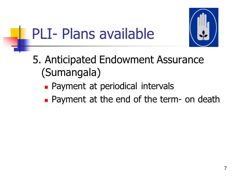 PLI- Plans available 5. Anticipated Endowment Assurance (Sumangala)