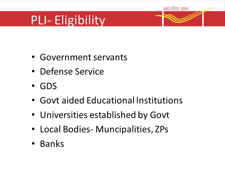 PLI- Eligibility Government servants Defense Service GDS