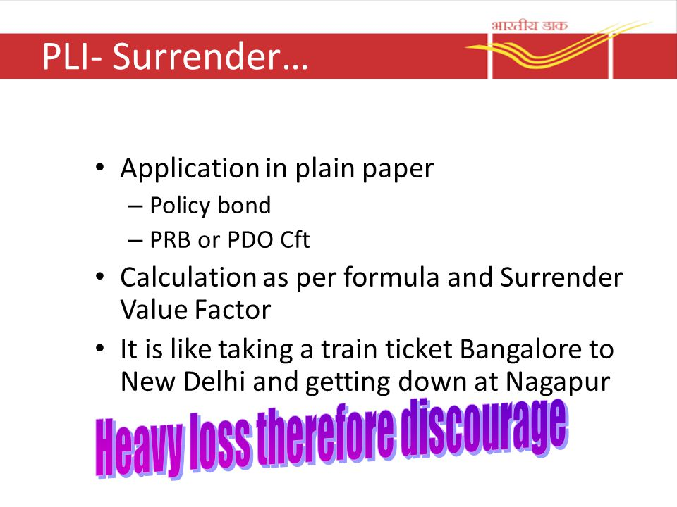 PLI- Surrender… Heavy loss therefore discourage