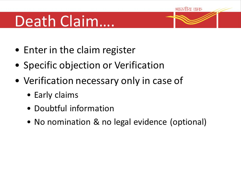 Death Claim…. Enter in the claim register