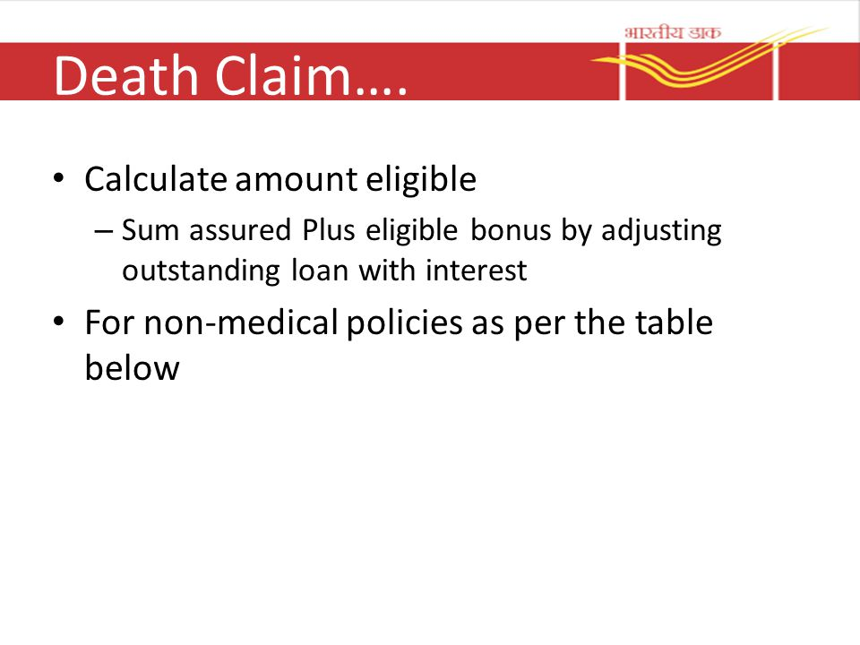 Death Claim…. Calculate amount eligible