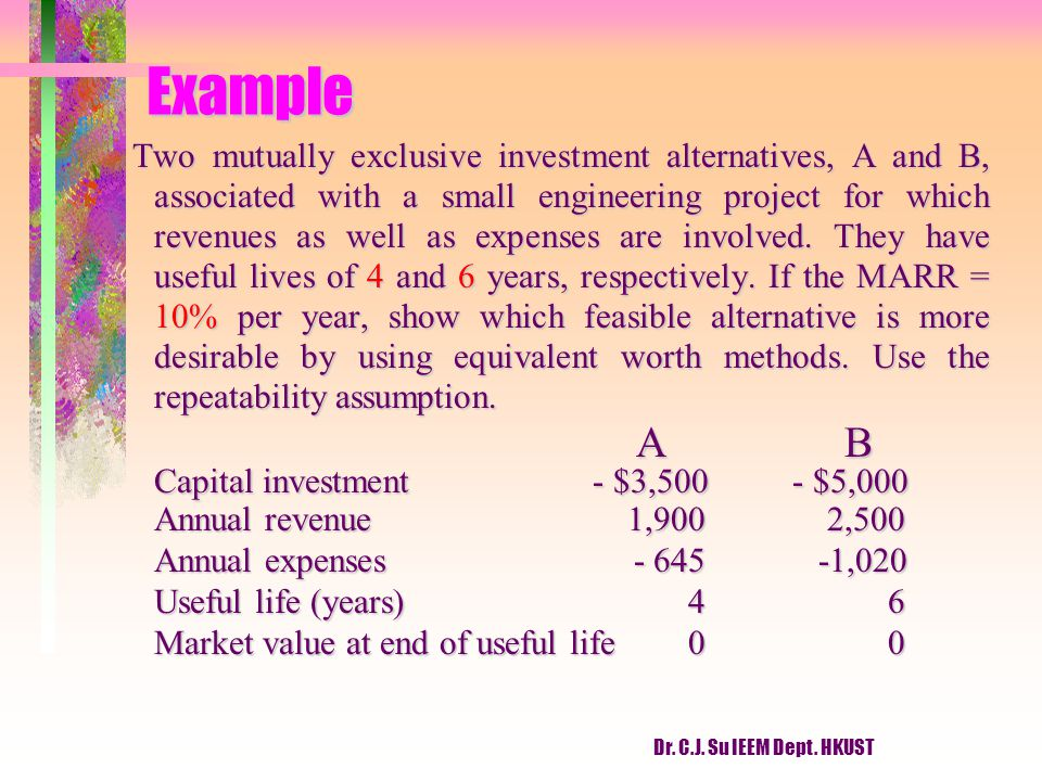Example A B Capital investment - $3,500 - $5,000
