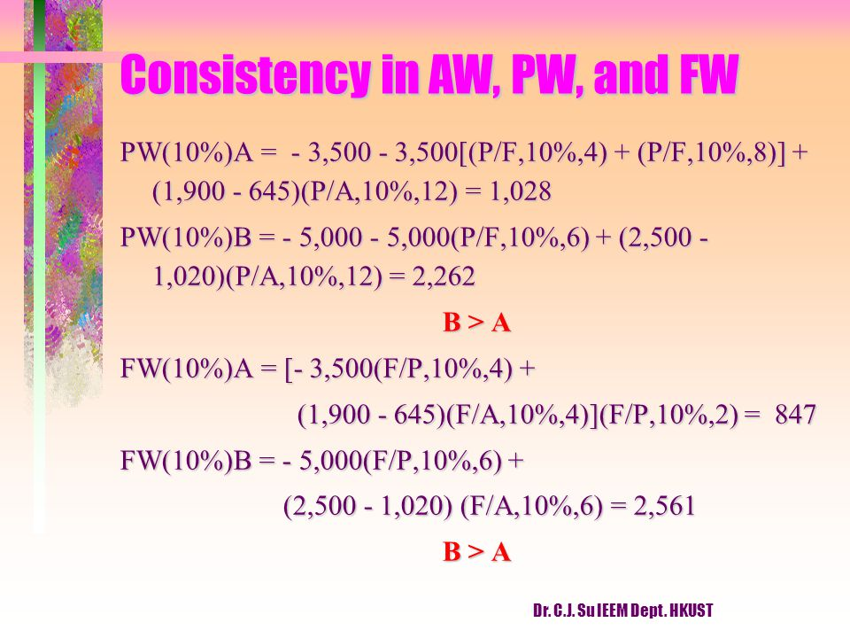 Consistency in AW, PW, and FW