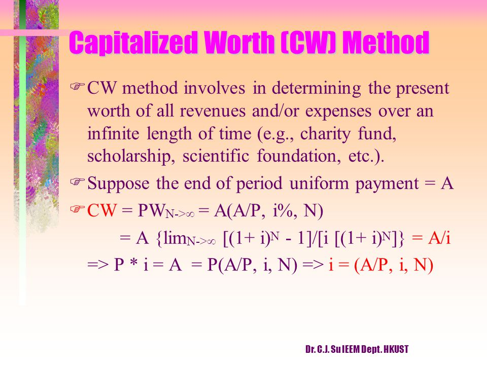 Capitalized Worth (CW) Method