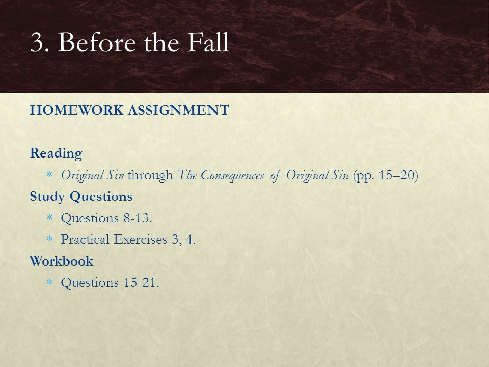 3. Before the Fall HOMEWORK ASSIGNMENT Reading