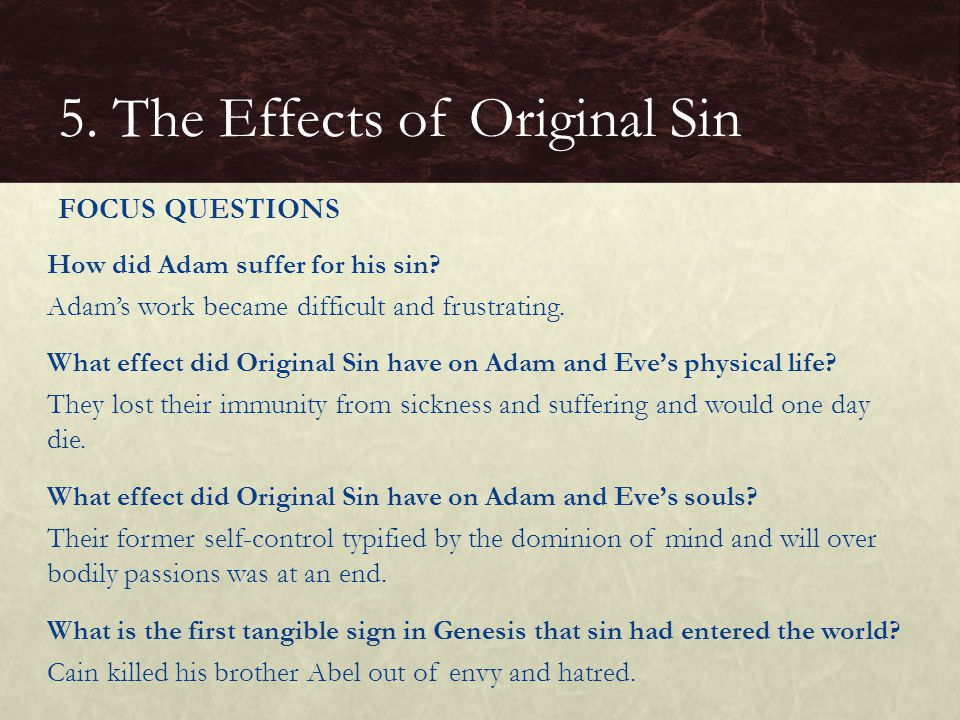 5. The Effects of Original Sin