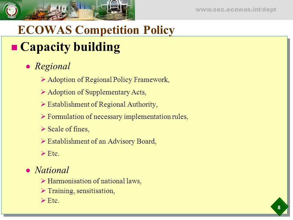 ECOWAS Competition Policy
