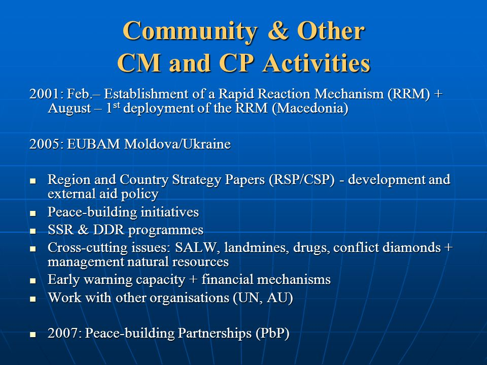 Community & Other CM and CP Activities