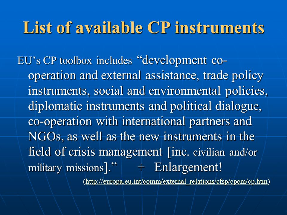 List of available CP instruments