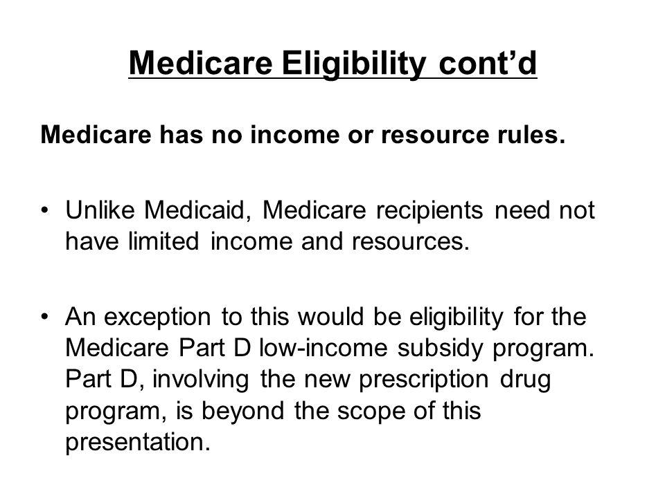 Medicare Eligibility cont'd