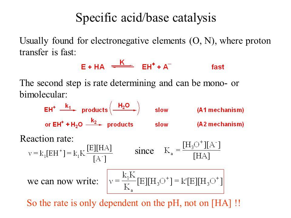 Specific acid/base catalysis