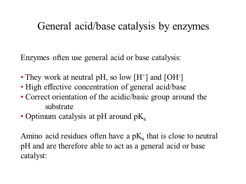 General acid/base catalysis by enzymes