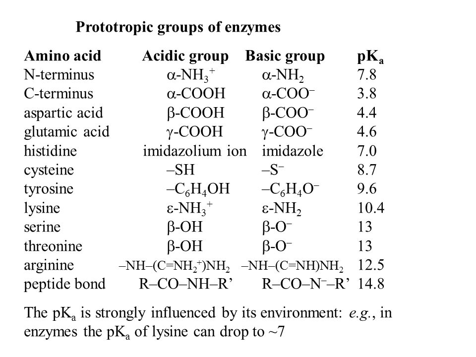 Prototropic groups of enzymes