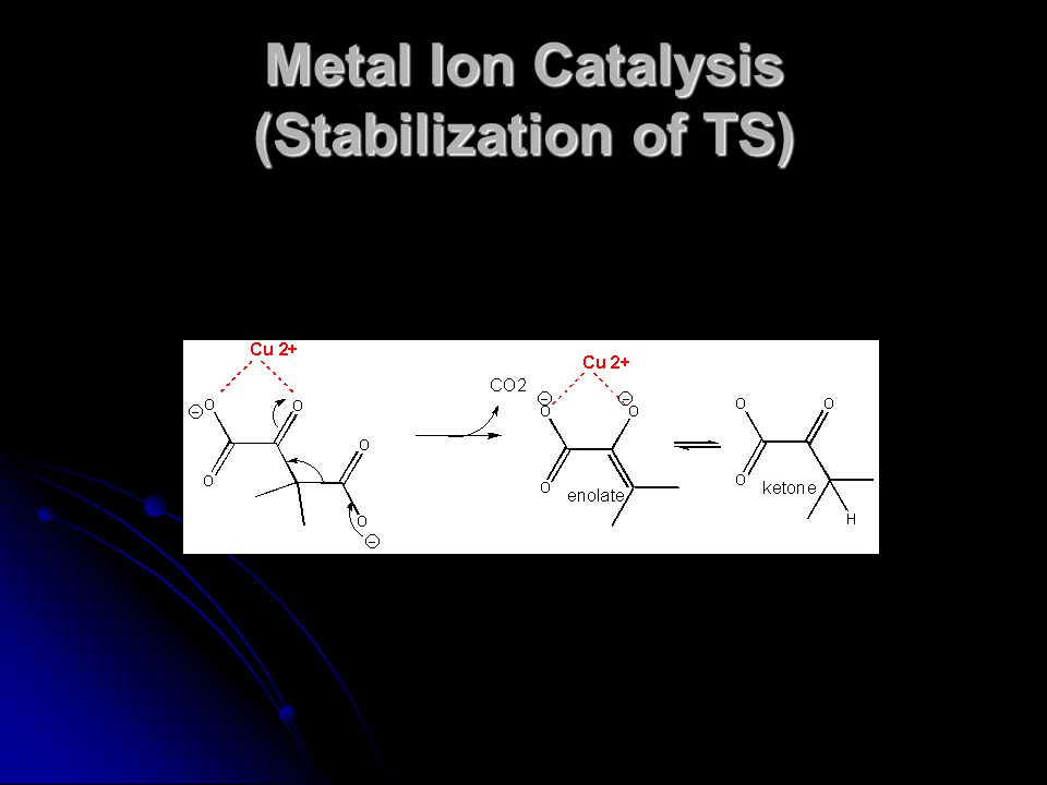 Metal Ion Catalysis (Stabilization of TS)